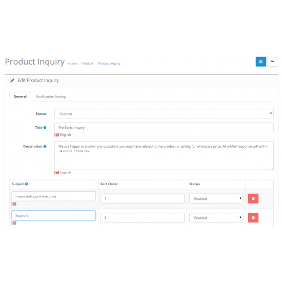 Product Inquiry (OpenCart Addon - vQmod)